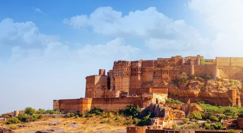 Ancient Historical fort of Mehrangarh fort Jodhpur Rajasthan India Asia daylight with dramatic clouds in the sky